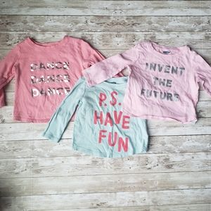 3 Old Navy Baby Girls Long Sleeve Graphic Tees